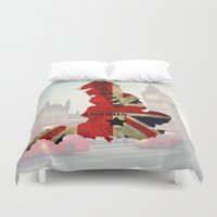 england Duvet Covers featuring ENGLAND by mark ashkenazi