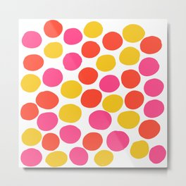 Bunte Punkte 003 / Mid-Century Modern Pattern Of Red, Pink & Yellow Dots Metal Print