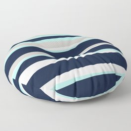 Ocean, Stripe Abstract Pattern, Navy, Aqua, Gray Floor Pillow