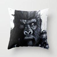gorilla Throw Pillows featuring Gorilla by rchaem