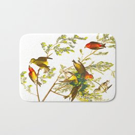 American Crossbill Vintage Bird Illustration Bath Mat