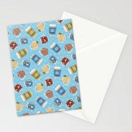Cozy Mugs - Bg Blue Wood Stationery Cards