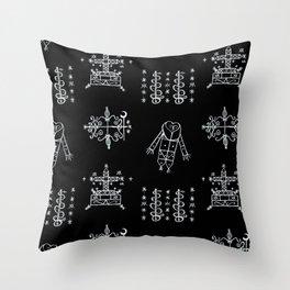 Papa Legba + Baron Samedi + Gran Bwa + Damballah-Wedo Voodoo Veve Symbols in Black Throw Pillow