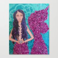 fitzgerald Canvas Prints featuring Cordelia Fitzgerald the Mermaid by inara77
