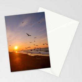 Dreamy seagull beach sunset   Belgium Northsea De Haan   Fine art travel photography   Stationery Cards