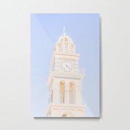 476. Pastel Bell Tower, Santorini, Greece Metal Print