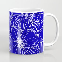Floral, Line Art Drawing, Blue and White, Modern Print Art Coffee Mug