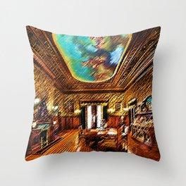 Chateau sur Mer Dining Room Watercolor - Newport Mansion Series - Jéanpaul Ferro Throw Pillow