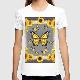 YELLOW MONARCH BUTTERFLIES SUNFLOWER ART T-shirt
