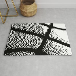 Basketball Texture - Black/White Print Rug