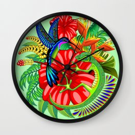 The Lizard, The Hummingbird and The Hibiscus Wall Clock