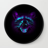 raccoon Wall Clocks featuring Raccoon by Asya Solo