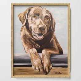 Chocolate Lab Art, Lab Painting, Cute Pet Art Serving Tray