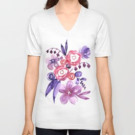 """Floral abstract bouquet """"Emma"""" Unisex V-Neck"""