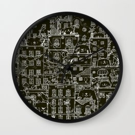 Cats and the city.first edition.negative Wall Clock
