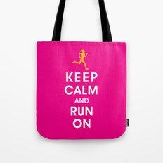 Keep Calm and Run On (female runner) Tote Bag