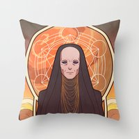 heymonster Throw Pillows featuring Reverend Mother by heymonster