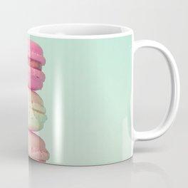 Tower of macarons, macaroons over green mint Coffee Mug
