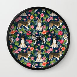 Shetland Sheepdog sheltie tropical florals floral dog breed pattern gifts for dog lover Wall Clock
