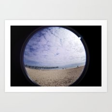 Beach through the eye of a fish Art Print