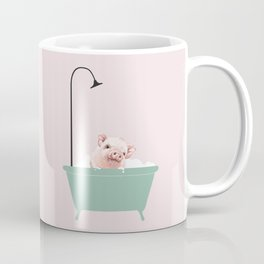 Baby Pink Pig Enjoying Bubble Bath Coffee Mug