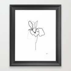 One line Iris Framed Art Print