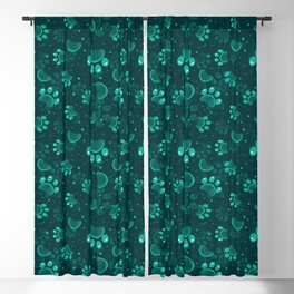 Paw print seamless pattern  in gren color Blackout Curtain