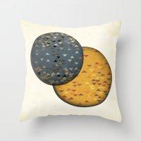 sun and moon Throw Pillows featuring Sun &  Moon by Jonathan Knight