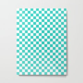 Small Checkered - White and Turquoise Metal Print