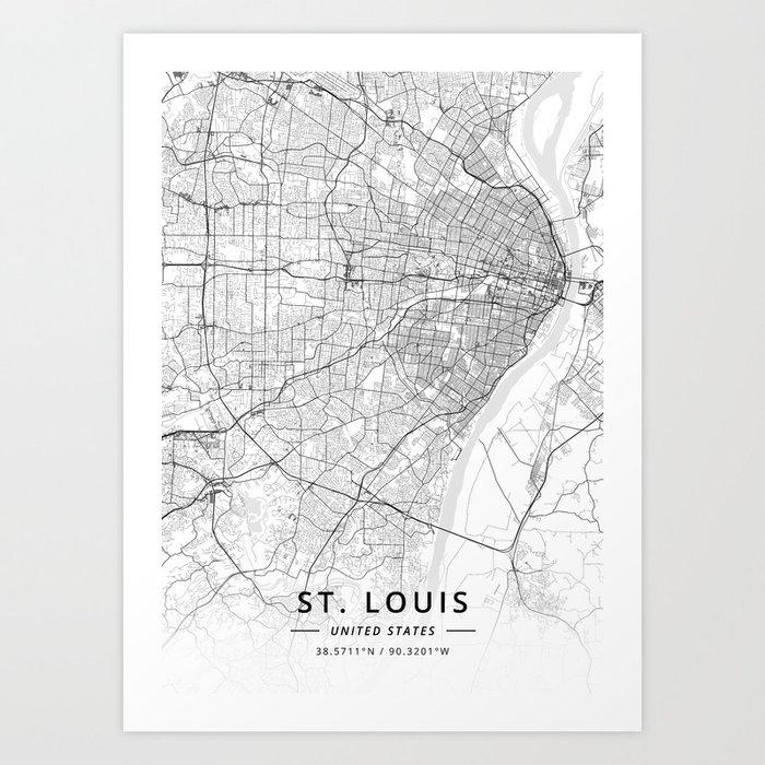St. Louis, United States - Light Map Art Print by designermapart ...