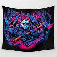 friday Wall Tapestries featuring FRIDAY THE 13TH: FORCEFUL ENTRY by BeastWreck