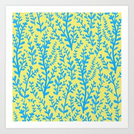 Yellow and Blue Floral Leaves Gouache Pattern Art Print