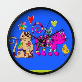 Kitties and birds Wall Clock