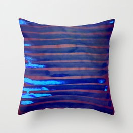 Blue Ice Lines Stripe Throw Pillow
