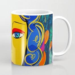 The Green Yellow Pop Girl Portrait Coffee Mug