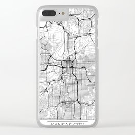 Kansas City Map White Clear iPhone Case
