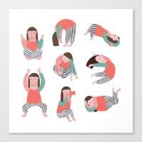 yoga Canvas Prints featuring Yoga by Anna Katharina Jansen |Illustration