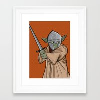 medieval Framed Art Prints featuring Yoda medieval  by  Steve Wade ( Swade)