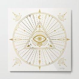 All-Seeing Eye Mandala – Gold Palette Metal Print
