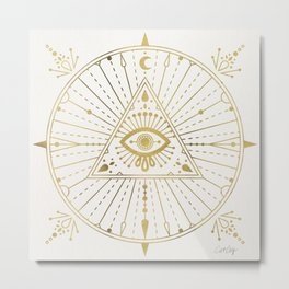 All-Seeing Eye Mandala – Gold Palette Metal Print