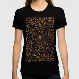 Medieval Flowers on Black T-shirt