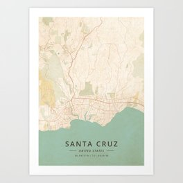 Santa Cruz, United States - Vintage Map Kunstdrucke