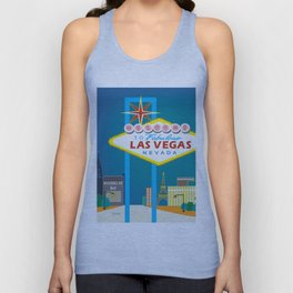 Las Vegas, Nevada - Skyline Illustration by Loose Petals Unisex Tank Top