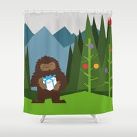 bigfoot Shower Curtains featuring It's a Bigfoot Christmas! by Grizzly Good