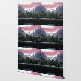Purple Dusk Falling on Lake and Forest Wallpaper