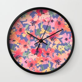 Little Peachy Poppy Garden Wall Clock