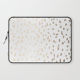 Luxe Gold Painted Polka Dot on White Laptop Sleeve