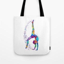 Colorful Gymnastics Tumbling Watercolor Art Tote Bag