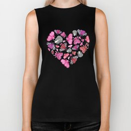 Pink Love of Moths and Butterflies Biker Tank