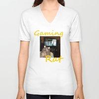 gaming V-neck T-shirts featuring gaming rat by Mindgoop